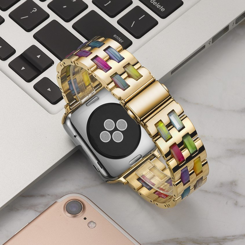 Luxury Stainless Steel Chain apple watch Straps iwatch series SE 6 5 4 3 2 1  สาย applewatch 38 40 42 44mm