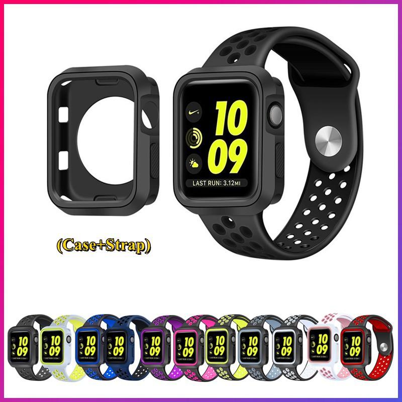 สาย applewatch สายนาฬิกา applewatch ( Strap & เคสซิลิโคนกันกระแทกสําหรับ Apple Watch Series 3 4 5 6 Se 38 มม . 40 มม . 4