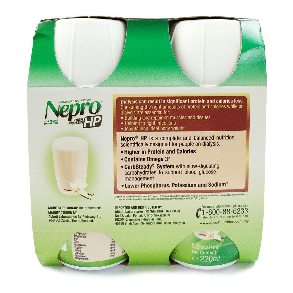 F2xv [24 Bottles] Nepro HP Vanilla 220ml x 24 Bottles (Expiry date : March 2022) Abbott Nepro High Protein Flavour