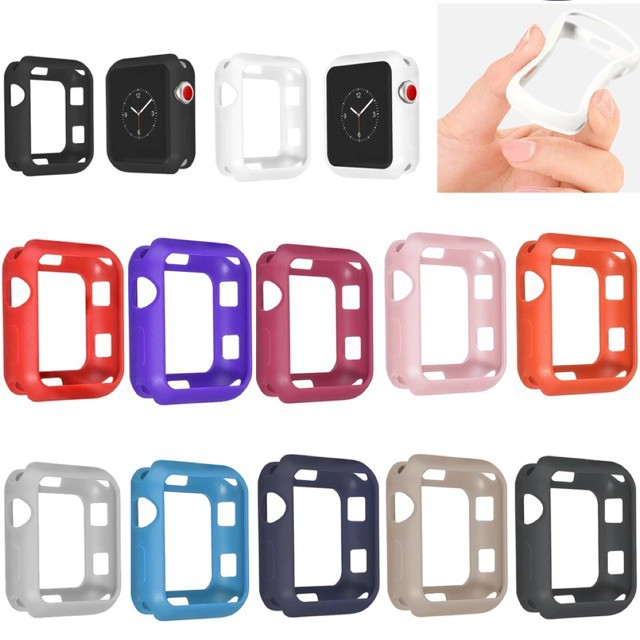 เคส applewatch NEW Fall resistance Soft Silicone Case For Apple Watch iWatch Series 1-6 Cover Frame Full Protection
