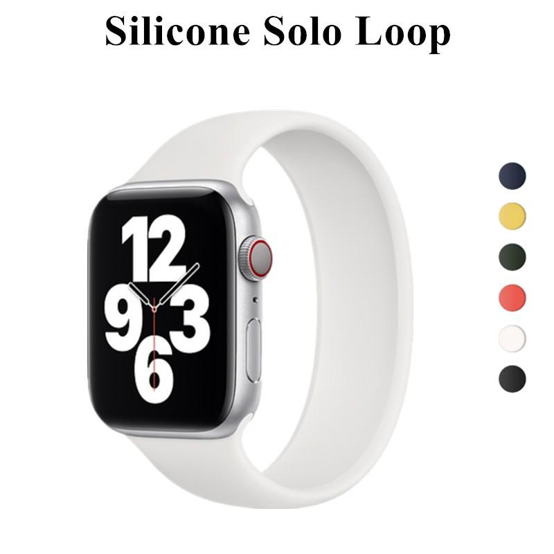 Apple Watch 6 Band Solo Loop สำหรับ Iwatch 5 4 3 2 38mm 40mm 42mm 44mm ซิลิโคนยืดหดได้สำหรับ Iwatch Series 1 ใหม่ สาย Apple Watch Apple Watch Iwatch รัด