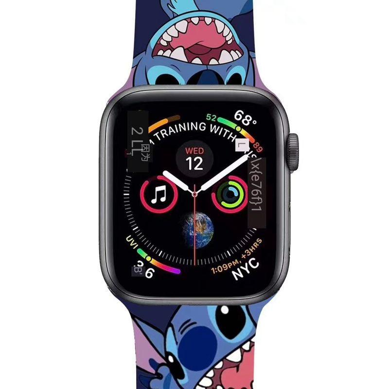 สาย applewatch Suitable for Apple Watch iwatch5 Silicone Strap Applewatch1/2/3/4 Generation Stitch Cartoon Strap