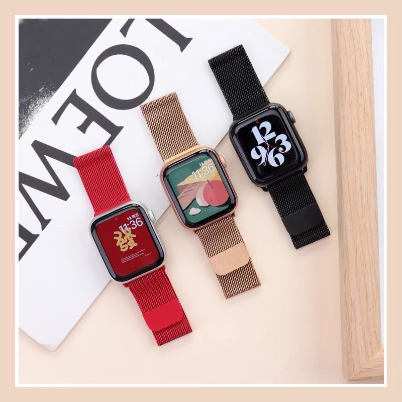 สาย สำหรับ apple Watch Band Milanese Loop Series 1 2 3 4 5 6 44 มม 40 มม 38 มม 42 มม สาย applewatch 6 se 4.7