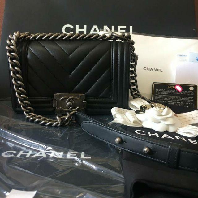 "Chanel Boy8"" Chevron HL26 ใหม่ตาแตก💯 Calfskin หนังลูกวัวแข็งแรงกว่า Cavier skin"