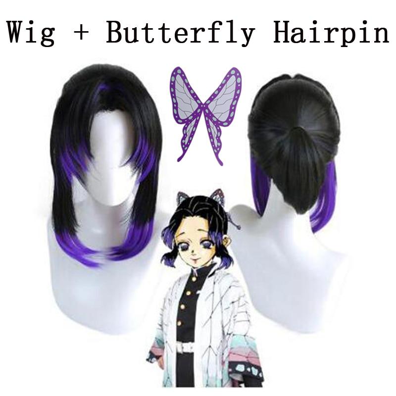 Anime Demon Slayer Kimetsu no Yaiba Kochou Shinobu Cosplay Wig Heat Resistant Synthetic Wigs + Wig Cap + Butterfly Hairp