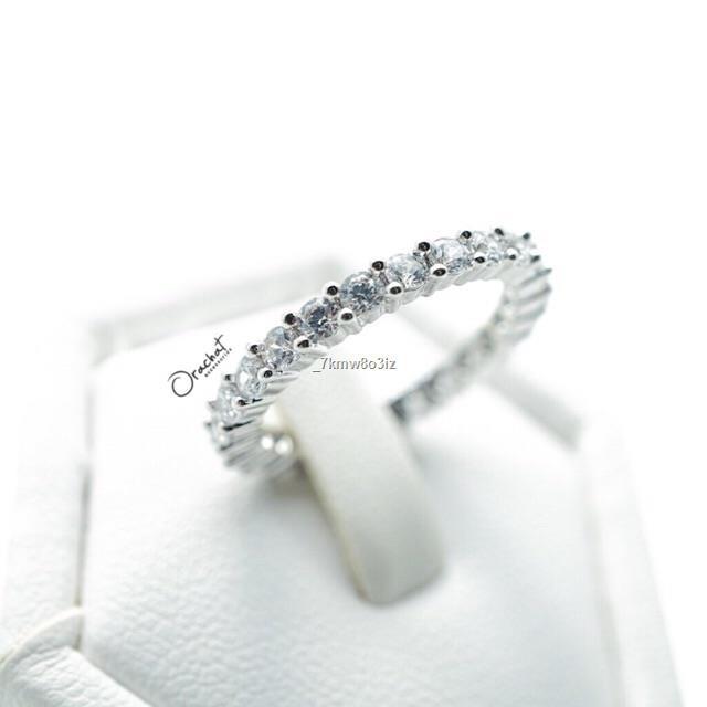 ราคาขายส่ง◘Jina ring. แหวนงานชุบทองคำขาว เพชร CZ ล้อมทั้งวง 🎖Must have 🎖