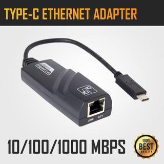 Type-C Port to RJ45 Gigabit Ethernet LAN Network Cable USB 3.1 Adapter Black