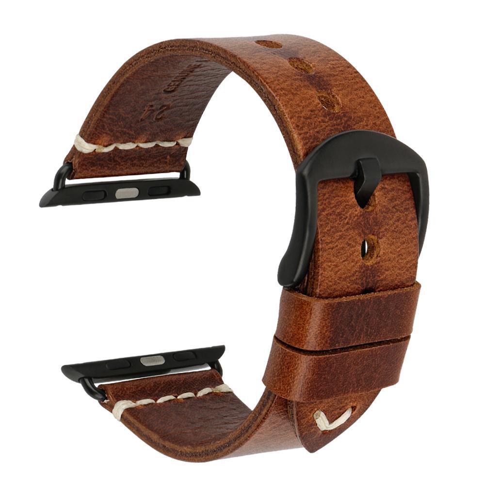 Factory Custom Handmade Genuine Leather Watch Strap For Apple Watch Band 38mm 42 Series 6 5 4 3 2 1 Apple Watch Bracelet