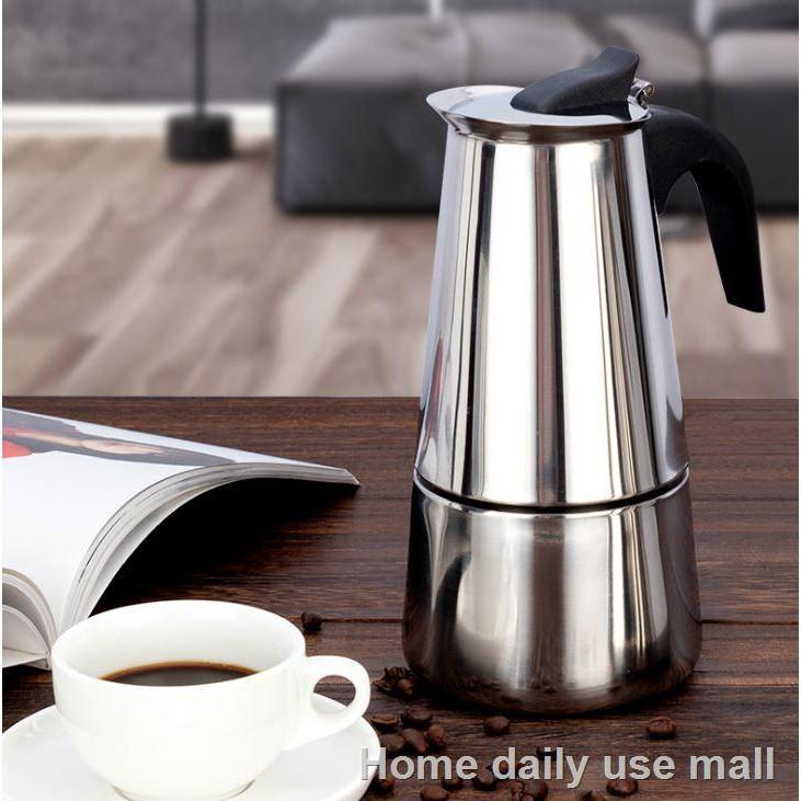 ราคาต่ำสุด♗❡กาต้มกาแฟรุ่นสแตนเลส Moka Pot กาต้มกาแฟสดแบบพกพา หม้อต้มกาแฟแบบแรงดัน เครื่องชงกาแฟ เครื่องทำกาแฟสด เอสเปรส