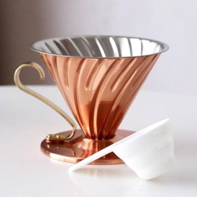 ดริปเปอร์ ดริปเปอร์ทองแดง เครื่องดริปกาแฟ ที่ดริปกาแฟ อุปกรณ์ทำกาแฟ ชุดทำกาแฟ ส่งฟรี