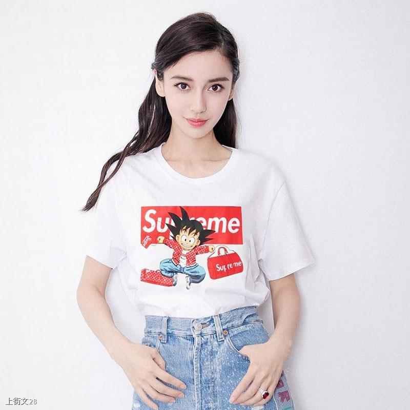 ஐเสื้อยืด Supreme 18SS ของแท้แบรนด์ Xiao Wukong แขนสั้น Wu Yifan คอกลมแบบเดียวกันชายและหญิงคู่เสื้อยืด