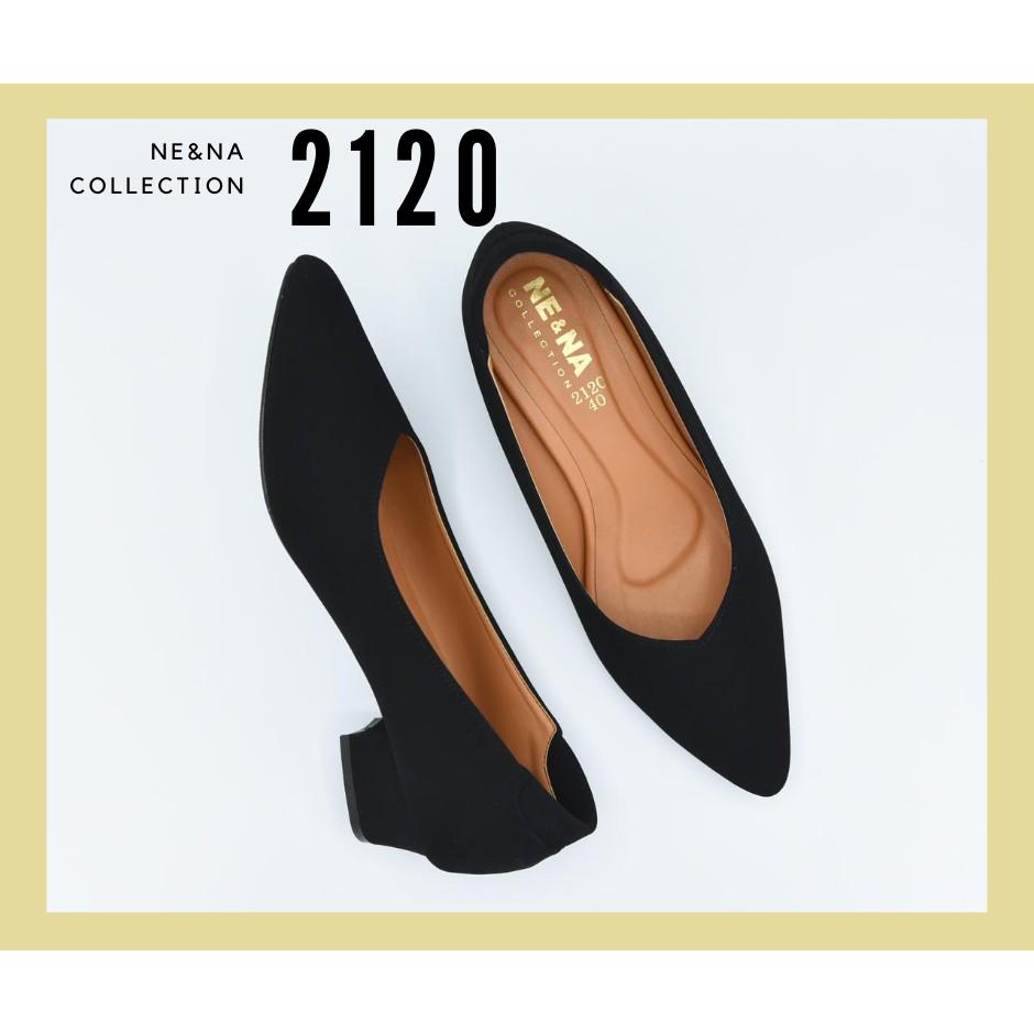 รองเท้าเเฟชั่นผู้หญิงเเบบคัชชูส้นเตี้ย No. 2120 Black NE&NA Collection Shoes
