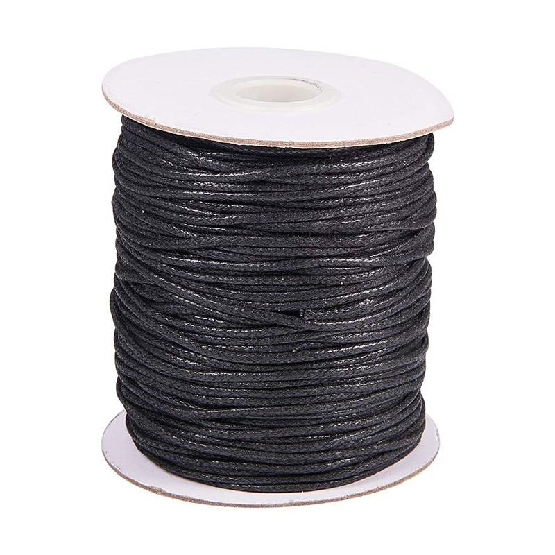 0.6mm 1mm 2mm Waxed Cotton Cord Shamballa Macrame Jewellery Black