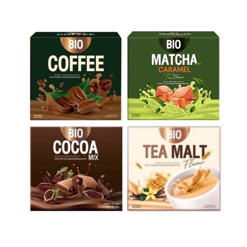 [ราคาต่อ 1กล่อง]ไบโอโกโก้มิกซ์ Bio Cocoa Mix / Tea Malt  / Coffee / Matcha By Khunchan ของเเท้ 100%