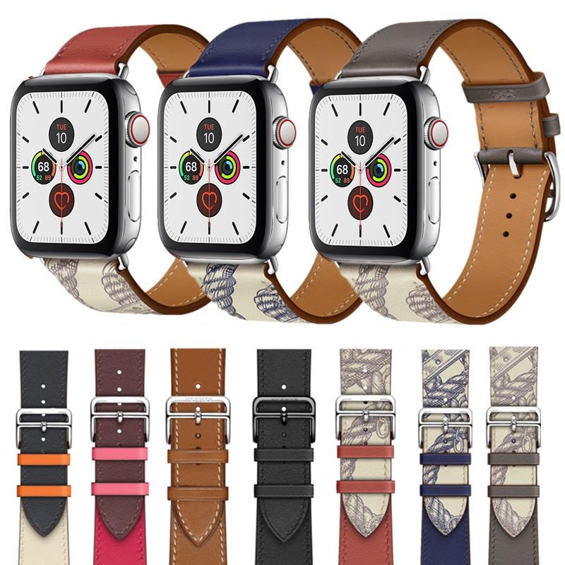 สายหนังวัวสำหรับ Apple Watch Series 6 se 5 4 3 2 1 สายเปลี่ยนสำหรับ applewatch Apple Watch สายหนัง 44mm 42 มม. 40 มม. 38 มม.