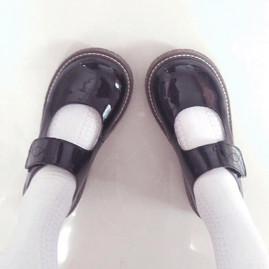 🍬🍬มีสินค้าในสต๊อก🍬🍬ญี่ปุ่นน่ารัก jk เครื่องแบบรองเท้าหนังหัวกลมสีดำนิ้วเท้า รองเท้าคัชชูผู้หญิง รองเท้าคัชชูสีดำ
