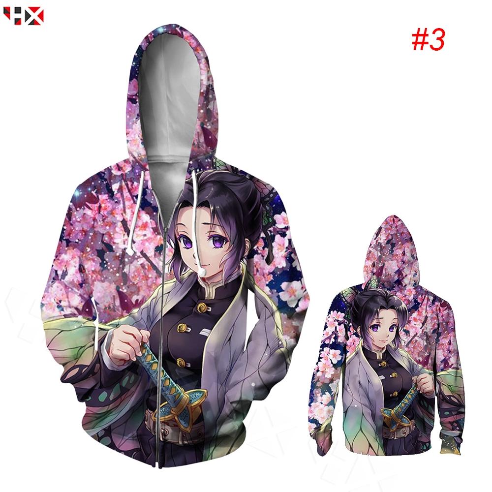HX Kimetsu No Yaiba Shinobu Kocho 3D พิมพ์ Zip Hoodies ลำลองแขนยาวแฟชั่นเสื้อคลุมด้วยผ้า