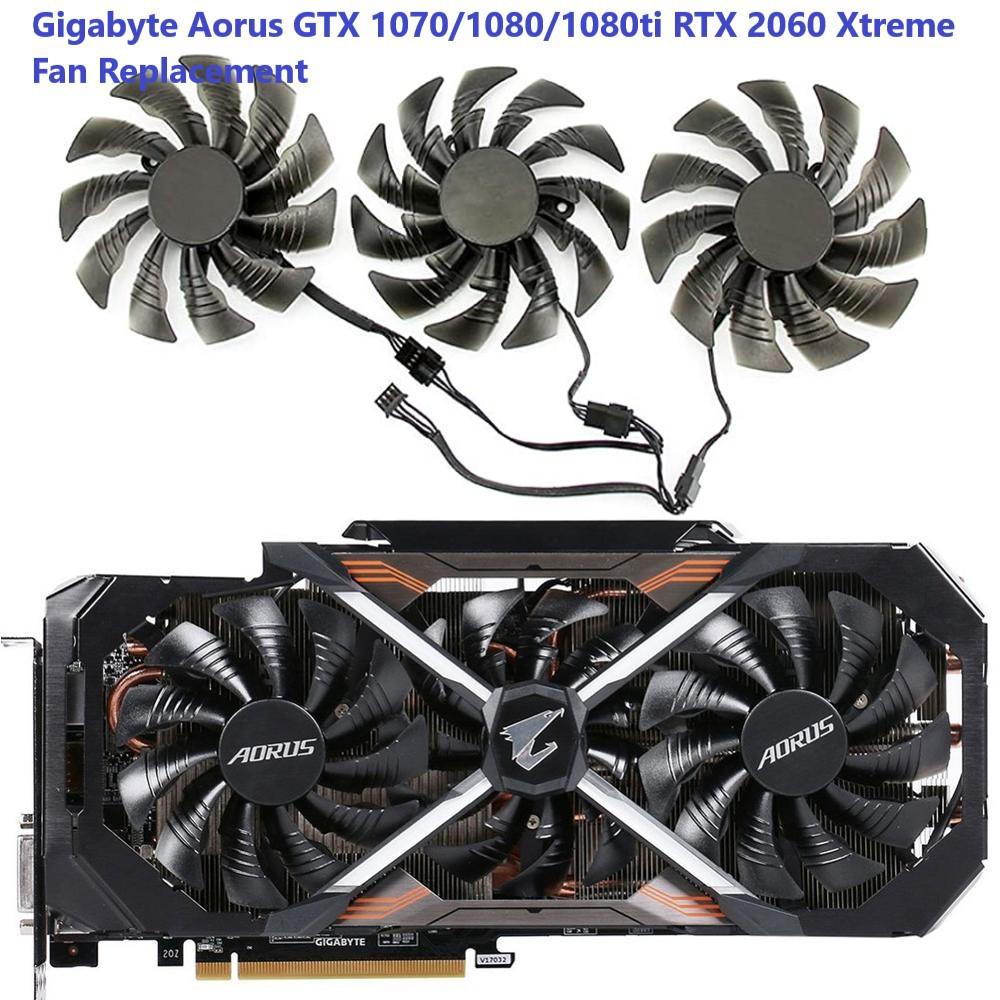 Gigabyte GTX 1060 1070 1080 1080ti AORUS ขนาดใหญ่แกะสลักพัดลมกราฟิกแกะสลักขนาดเล็ก (ชุด 3ใบ )ส่งไว
