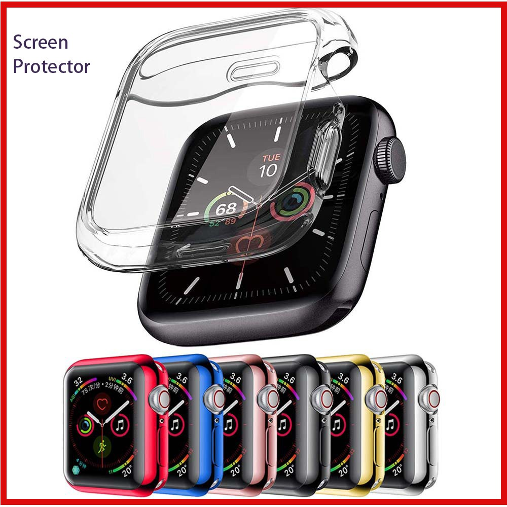 Apple Watch Case with Screen Protector Full Coverage 38/40/42/44mm Soft Clear Silicone Cover for iWatch Series SE 6/5/4/3/2/1