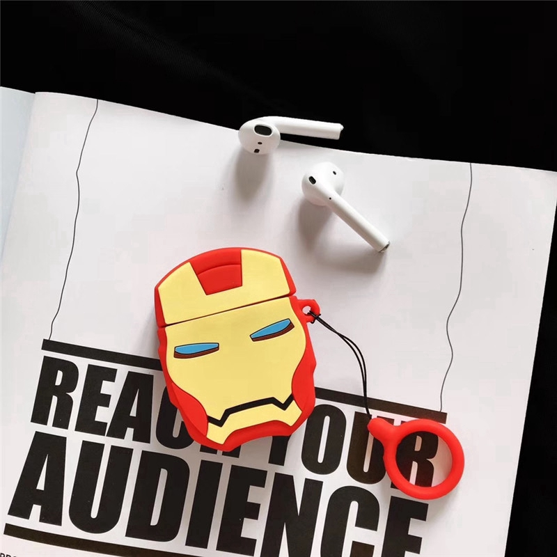 Marvel Iron Man Apple Airpods 1/2 Case Silicone Wireless Earphone Soft Case Protective Case for I9s I11s Airpods 1&2
