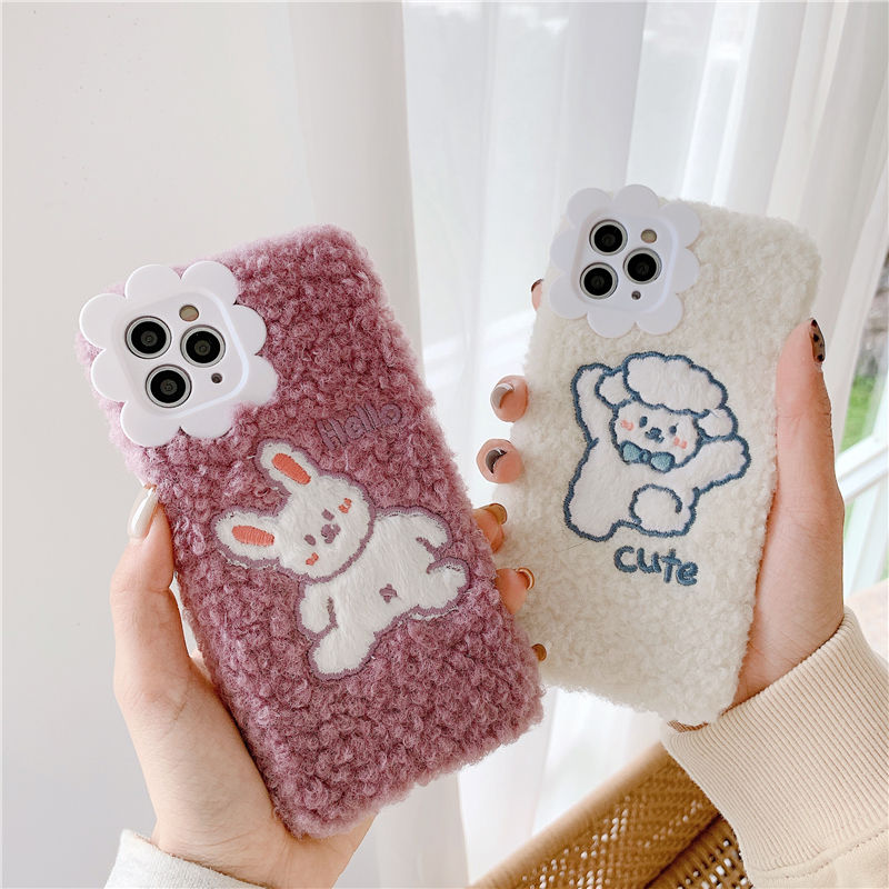 Ins Plush Embroidery Small Sheep Rabbit Apple  Phone Case IPhone12/11ProMax/X/XS/XR