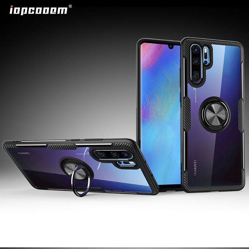 Review Huawei P30 Pro Case Huawei Nova 4E Case Shockproof Armor Tough Transparent Magnetic Ring Stand Hard Cover