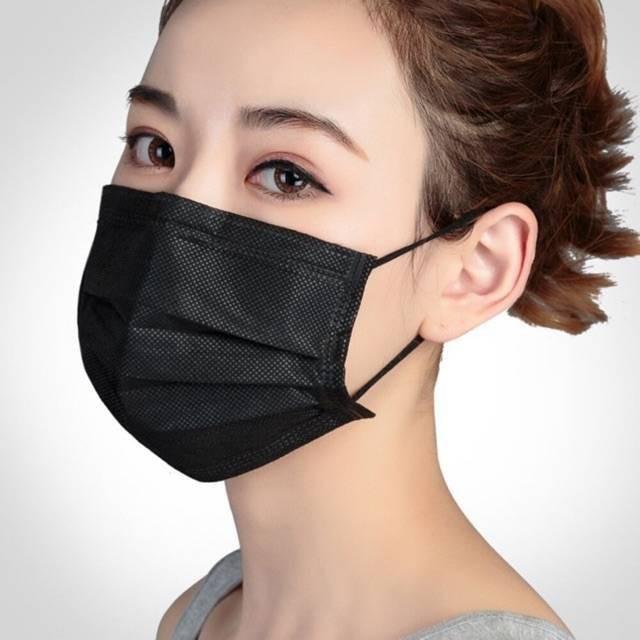 หน้ากากคาร์บอน แมสดำคาร์บอน สีดำ  3 ชั้น 1กล่อง50ชิ้น carbon mask ผ้าปิดจมูก หน้ากากอนามัย 😷🎱