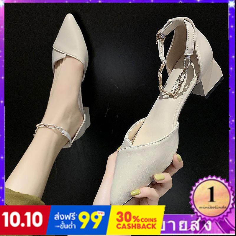 ⭐👠รองเท้าส้นสูง หัวแหลม ส้นเข็ม ใส่สบาย New Fshion รองเท้าคัชชูหัวแหลม  รองเท้าแฟชั่นใหม่ชี้รองเท้าผู้หญิงรองเท้าส้นสูงห