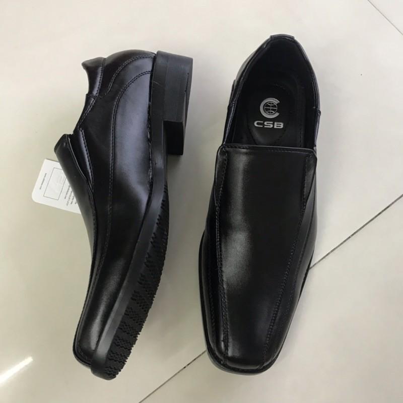 รองเท้าหนัง# csb  รองเท้าคัชชูผู้ชายแบบสวม รุ่น CM500 สีดำ