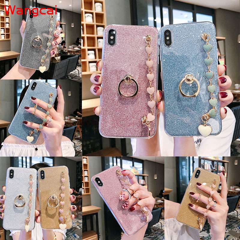 Samsung Galaxy A2 Core A8 A9 Star A6+ A6 Plus 2018 C9 C7 C5 Pro Case Bracelet Holder Ring Glitter Bling Soft Case Cover