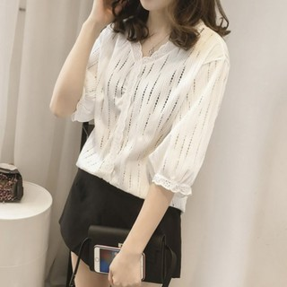 Review New ladies casual loose hollow out all-match summer short-sleeved shirt
