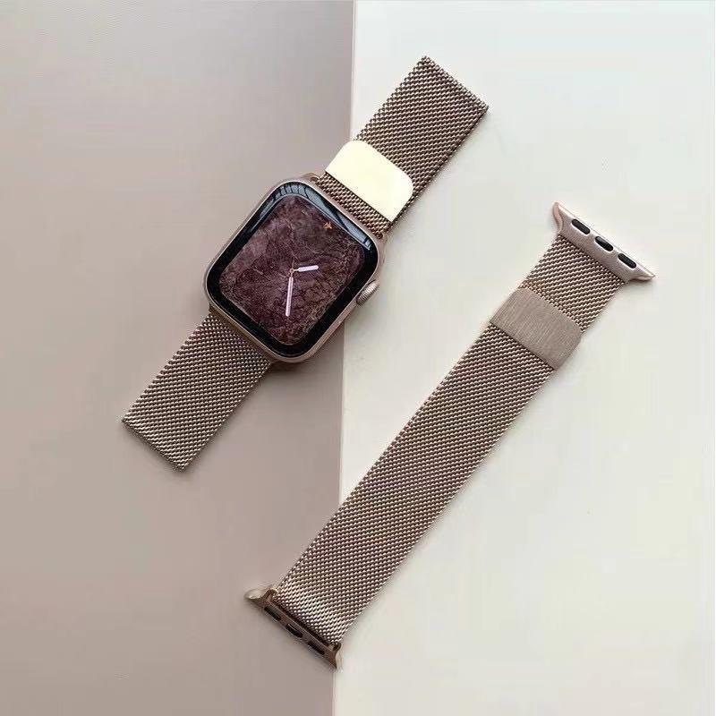 am สายเปลี่ยนนาฬิกาข้อมือ AppleWatch Band Milanese Loop Series 1 2 3 4 5 6 44 มม 40 มม 38 มม 42 มม สาย applewatch 6 se 4