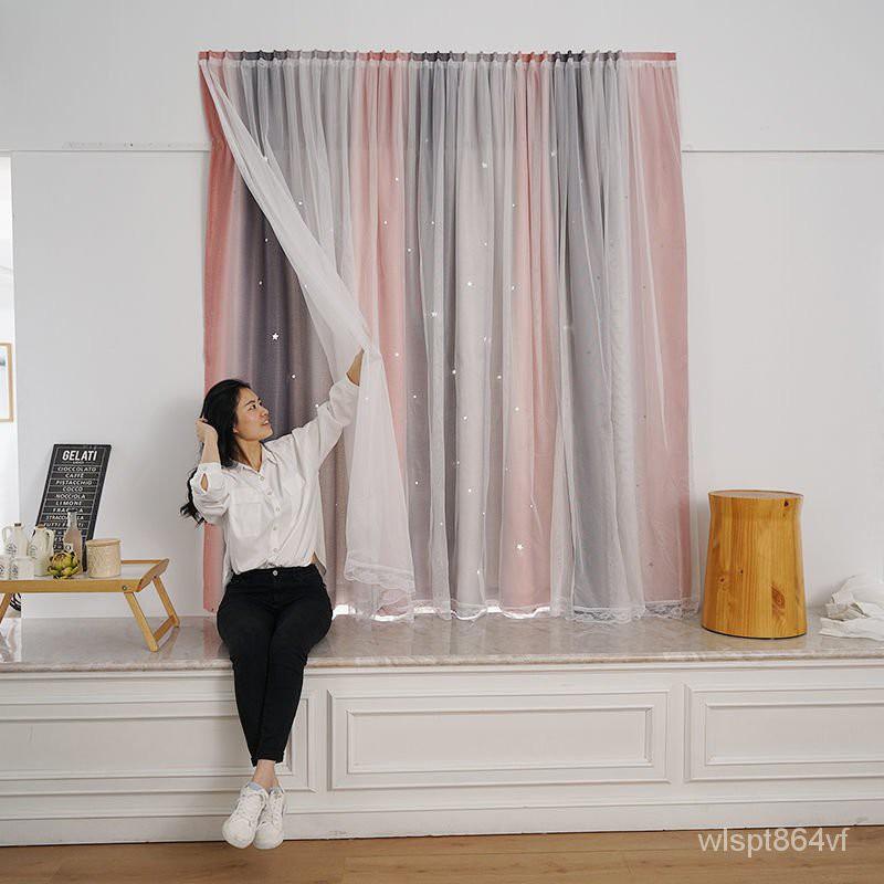 ใหม่ Velcro ผ้าม่านสำเร็จรูปแบบไม่ต้องเจาะรู ผ้าม่านห้องนอนกาวตนเอง