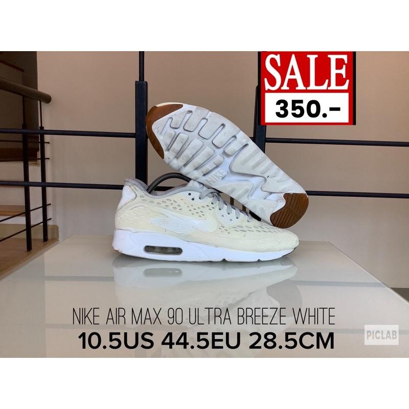 10.5US 44.5EU 28.5CM รองเท้ามือสองสภาพดี NO.0095 NIKE AIR MAX 90 ULTRA BREEZE WHITE รองเท้าวิ่งไนกี้