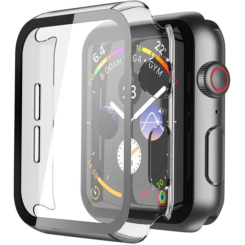 เคสนาฬิกาข้อมือ PC สำหรับ และฟิล์มกันรอย สำหรับ Apple Watch PC Case With Tempered Glass For Apple Watch 40mm 44mm Series 6 SE 5 4 Case + Tempered Glass Screen Protector Full Cover for iwatch Series 3 2 1 38mm 42mm