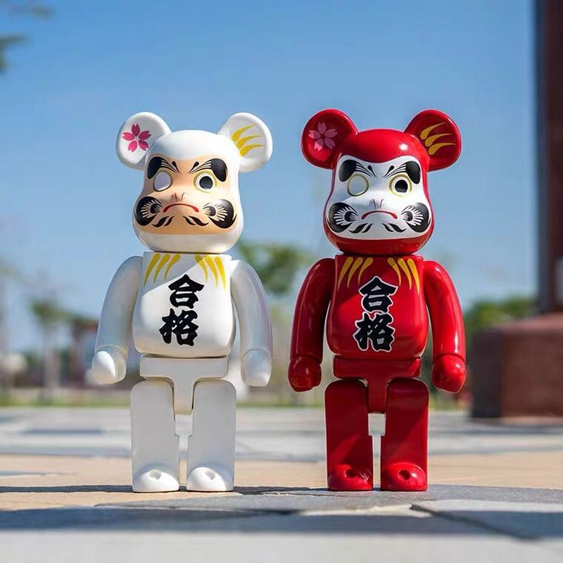 400% Red Lucky Bearbrick With  Peking Opera Mask  Action Figure Creative Toy Cwith box)