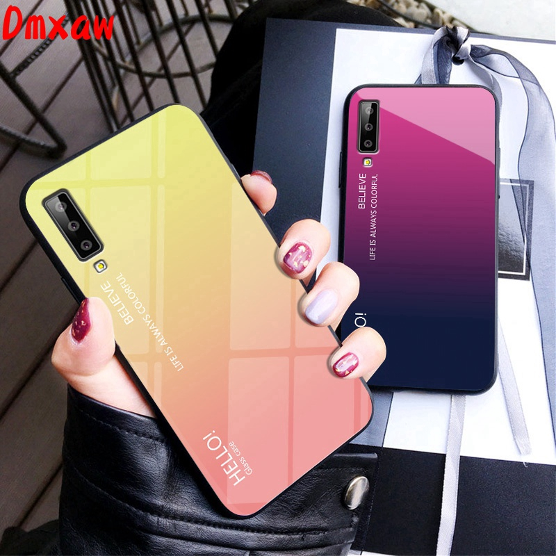 For Samsung Galaxy A7 A9 J6 J2 Pro 2018 A750 A9 A8 Star Phone Case Gradient Tempered Glass Soft Frame Hard Back Cover