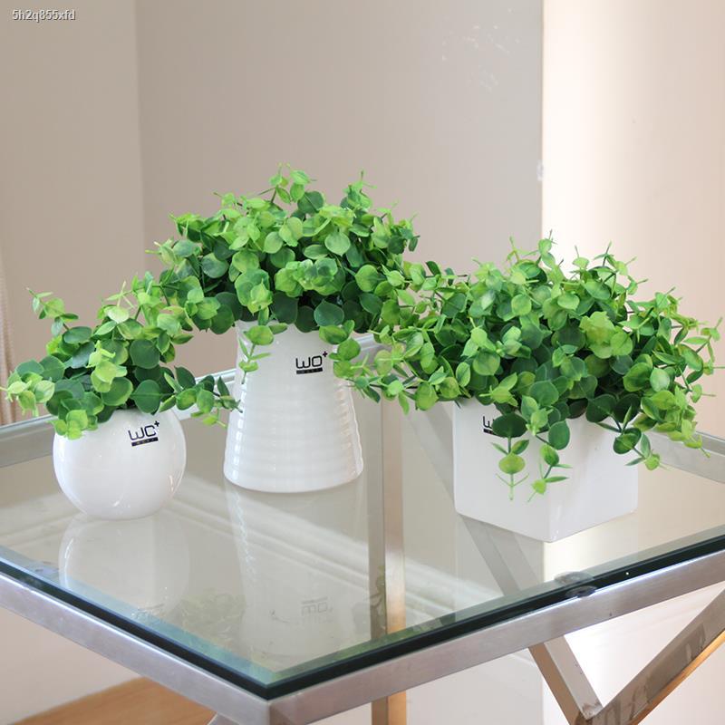 การจำลองพันธุ์ไม้อวบน้ำ✈✟❧wo + จำลองดอกไม้ชุดดอกไม้ปลอมปลอมหญ้าสีเขียวใบพืช clover ดอกไม้ตกแต่งบ้าน potted bonsai