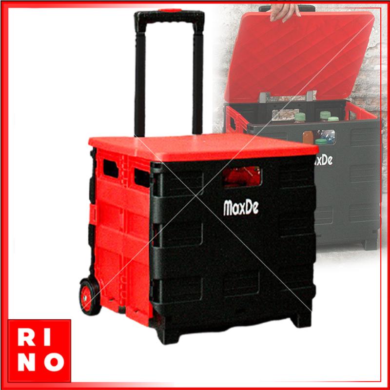 กล่องพลาสติก แค้มปิ้ง มีฝาปิด+ล้อลาก พับได้ 38x33x88 cm ปรับได้ 3แบบ รถเข็นแค้มปิ้ง รถเข็นพลาสติก รถเข็นใส่ของ พกพา