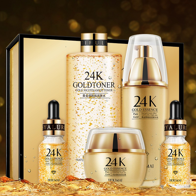 Humei Luxurious Moisturizing 24K Gold Set Box and Shrinking Pores Essence Skin Care Products