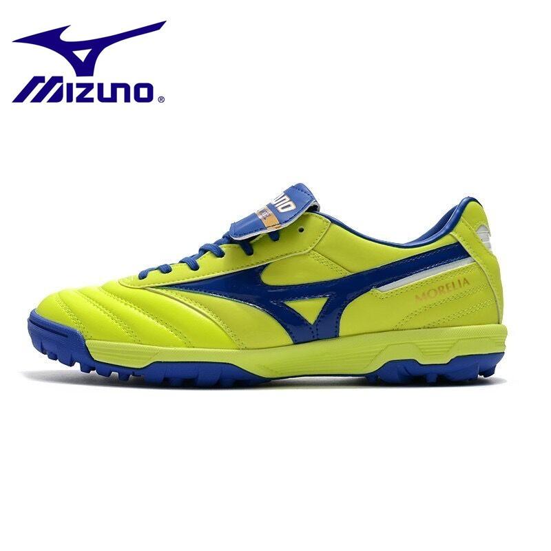 ของแท้Mizuno ผิวหนังจิงโจ้ MORELIA  II PRO  TF/ASเล็บสั้นรองเท้าฟุตบอล