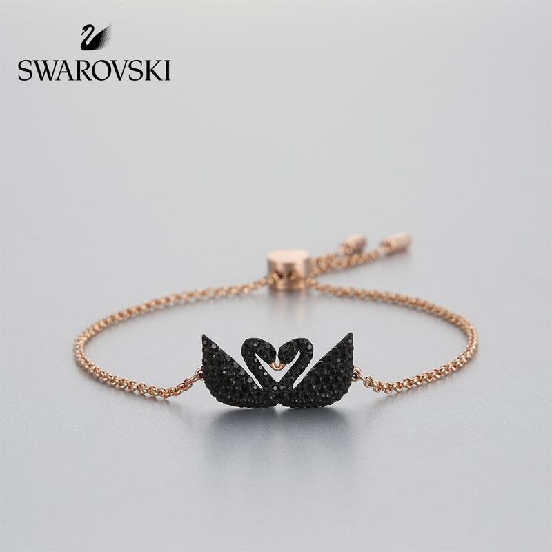 Swarovski สร้อยข้อมือรูปหงส์ดํา
