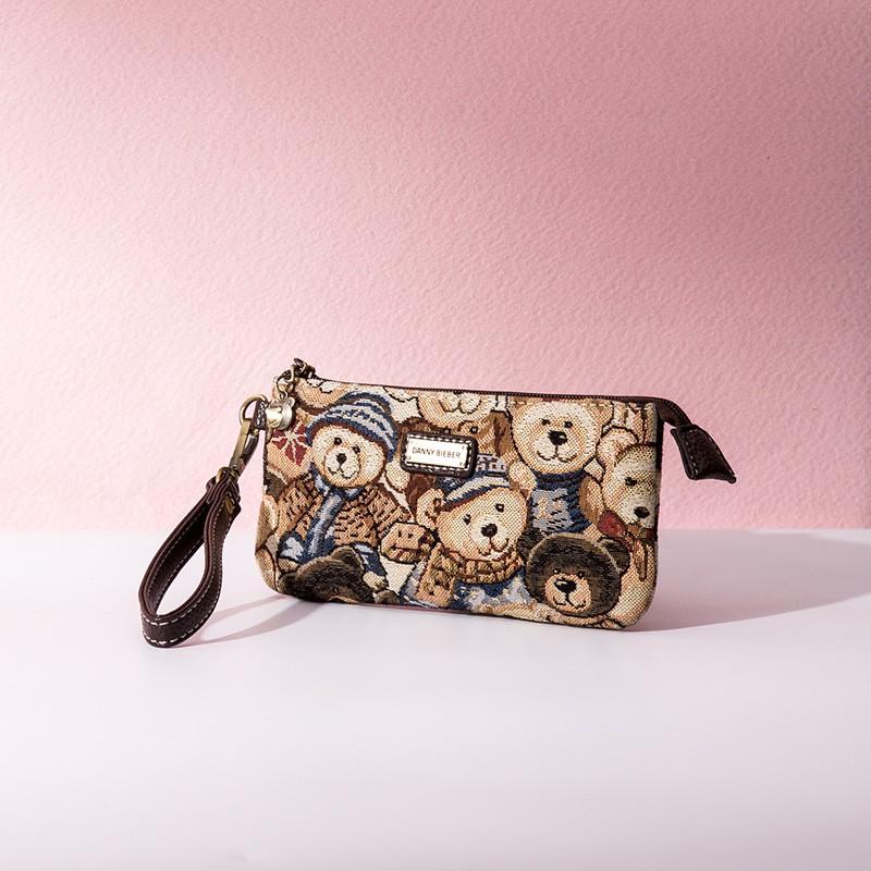 Cy 2020 Danny Bear กระเป๋าคลัทช์ กระเป๋าใส่เหรียญ ผ้าแคนวาส แบบเรโทร ลายการ์ตูนน่ารัก