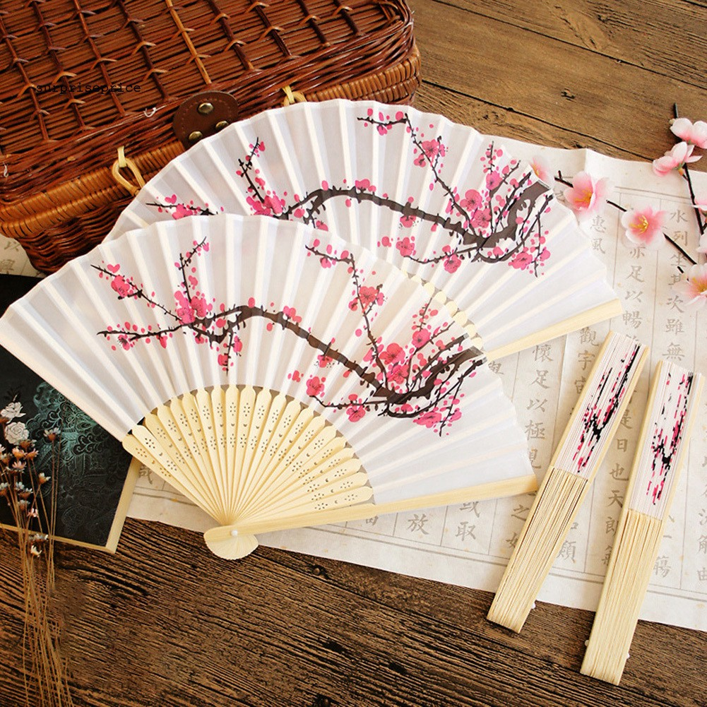 Wedding Chinese Party Wood Wooden Plum Folding Hand Summer Fan Decor Gift