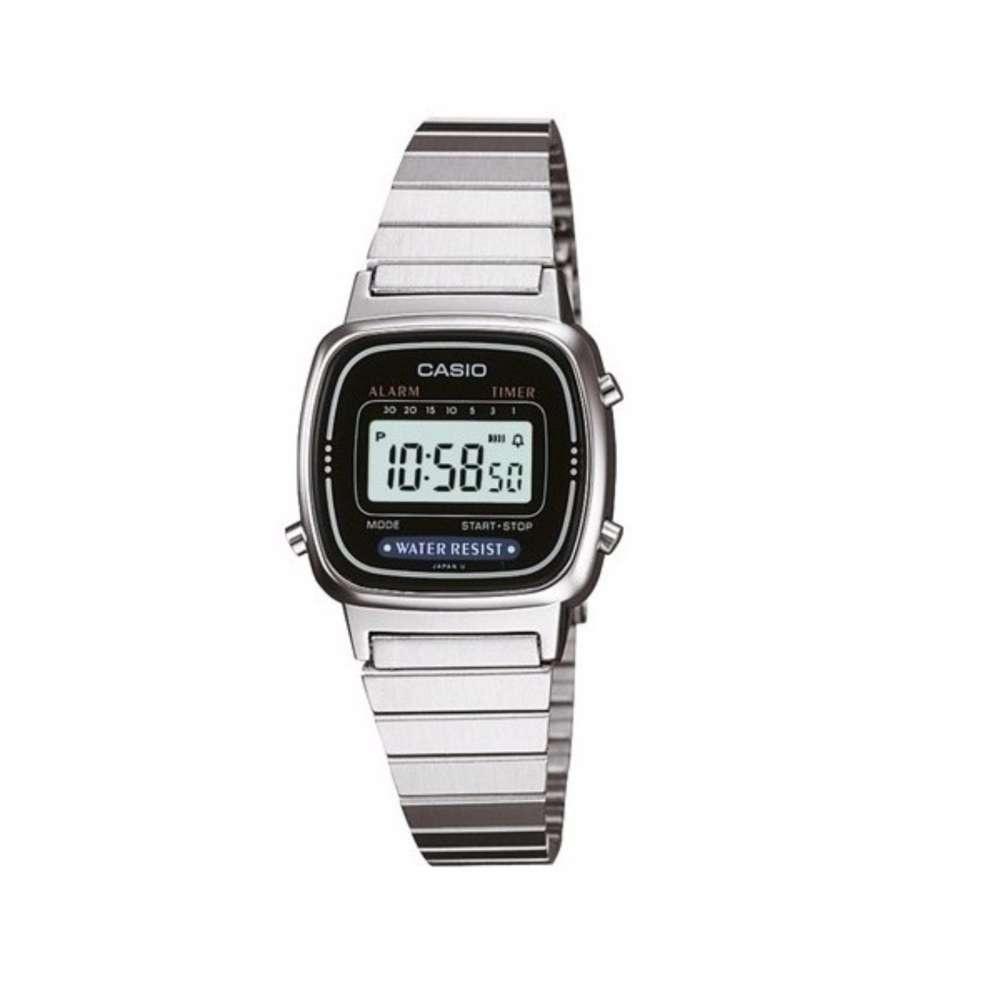 จัดส่งฟรีCASIO นาฬิกาข้อมือผู้หญิง สีเงิน/ดำ สายสแตนเลส รุ่น LA670WA-1DF