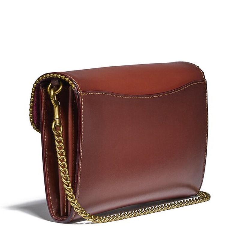 ▤☒┅Coach (แบบเดียวกับที่เคาท์เตอร์) กระเป๋าสะพายผู้หญิง สะพายข้าง ผ้าแคนวาสสีน้ำตาล ลายหนัง โลโก้โซ่