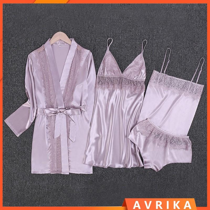 avrika ชุดนอนผ้าไหมเซ็กซี่สําหรับผู้หญิง ชุดนอนเซ็กซี่ เซตชุดนอน ชุดนอนไม่ได้นอน ชุดนอนคนอ้วน ชุดนอนสาวอวบ