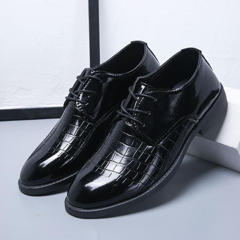✲รองเท้าหนัง  รองเท้าหนังผู้ชาย รองเท้าธุรกิจ รองเท้าคัชชูหนังขัดมันชาย รองเท้าหนังแบบผูกเชือกสำหรับผู้ชาย