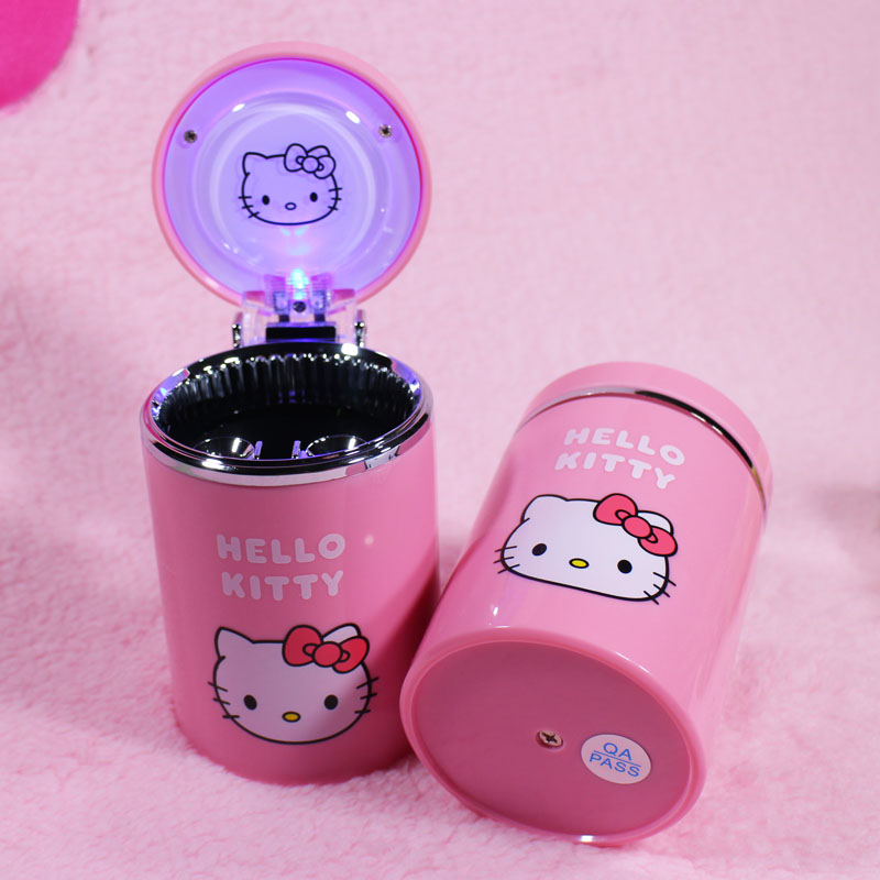 Pink Car Cigarette Ashtray For Cup Holder Car Air Vent Cigarette Ashtray with LED Light Color Changing and Cover for Car