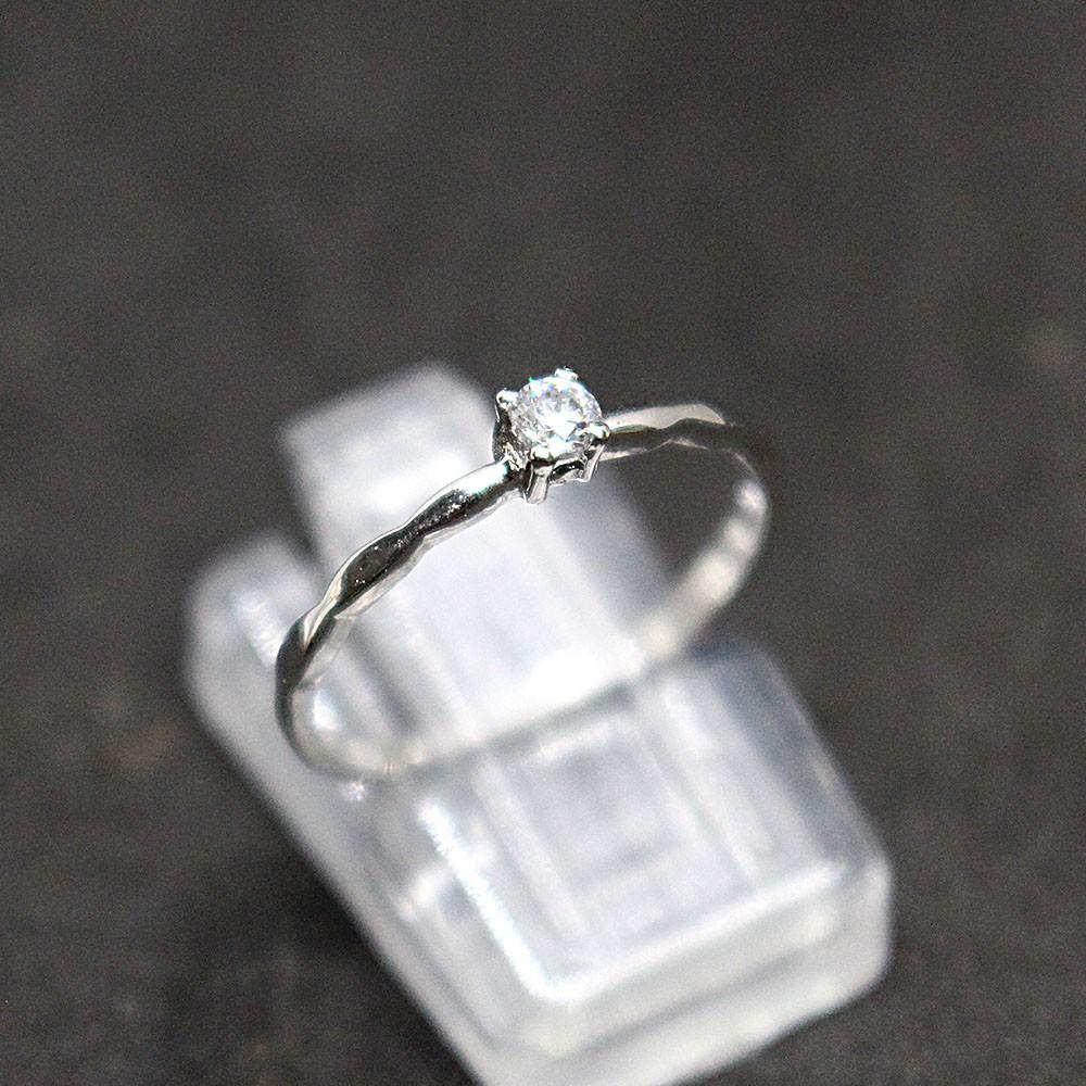 แหวนเพชรเม็ดเดี่ยว แหวนเงินแท้ เพชรCZ แหวนเงิน925 แหวนแท้ราคาถูก แหวนเงินชุบทองคำขาว